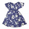 Princess Floral Stylish Baby Girls Frock with Bow  Blue Printed